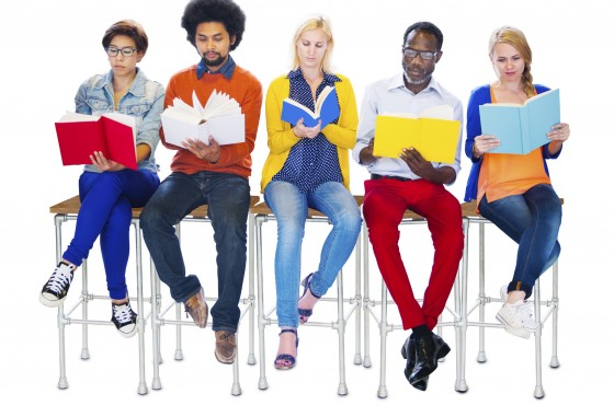 Diverse People Reading Books on White Background